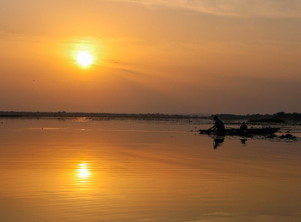 Sunrise on Lake Tengrela in Burkina Faso