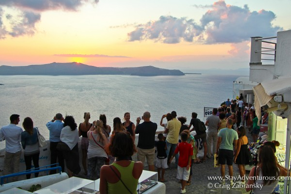 sunset watching on the streets of Fira, Santorini