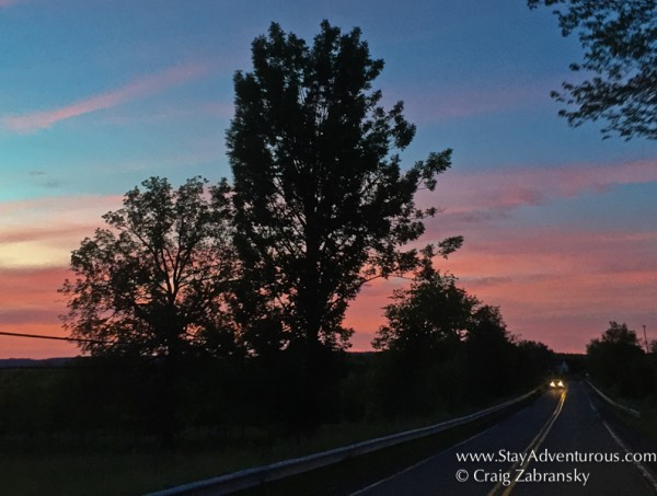 sunset on the roural roads of pocono mountains in pennsylvania