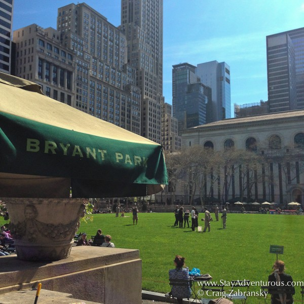 a View of Bryant Park, in New York City