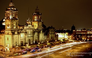 Night time in the Zocalo of Mexico City, Mexico