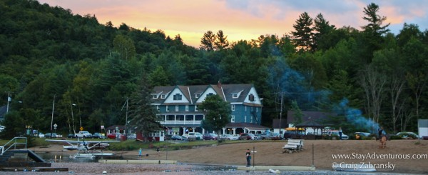 An Adirondack Sunset of the Adirondack Hotel from Long Lake, New York