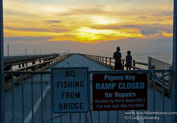 walking out on old seven mile bridge to experience a florida keys sunset