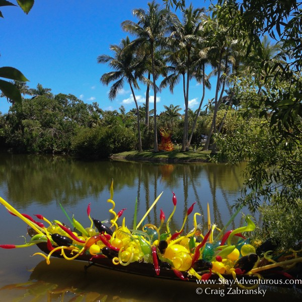 a view of Dale Chihuli Glass Art inside the Fairchild Tropical Botanic Garden