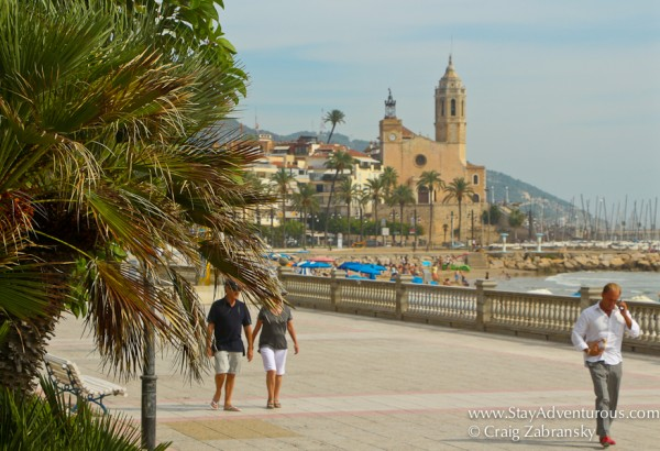 the main promenade on the beach in Sitges, Catalonia, Spain