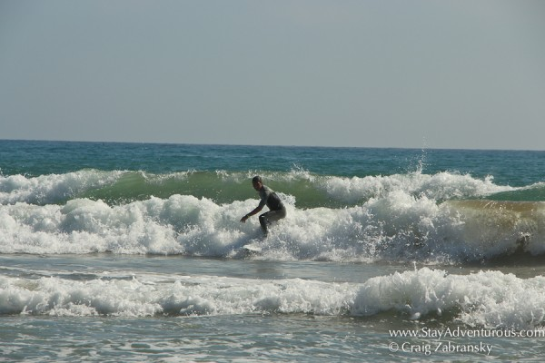 surfing the waves in sitges, spain