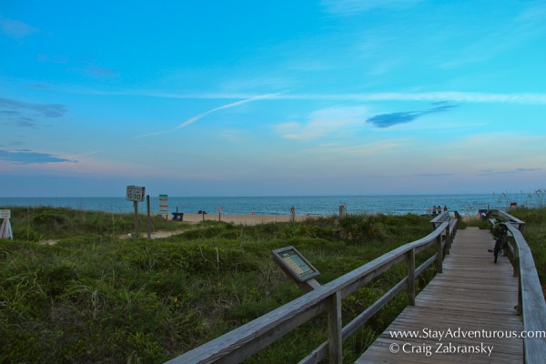 walking the path to the beach in Vilano, Flordia
