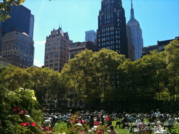 a summer view of the lawn at Bryant Park, NYC