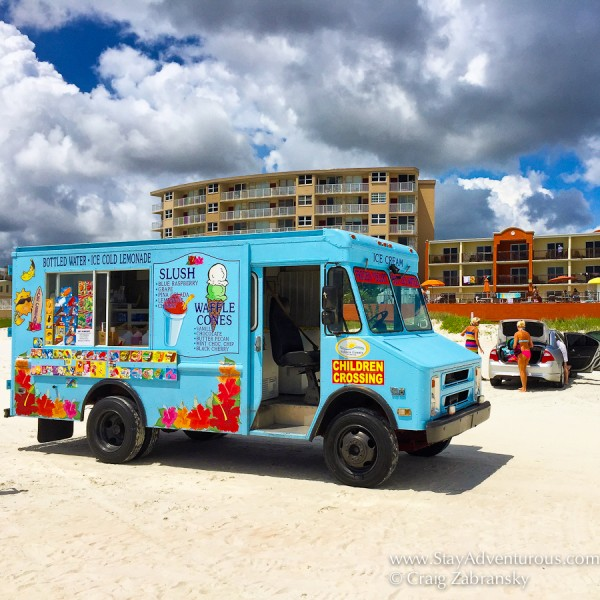 ice cream truck driving the beach in Daytona, Florida