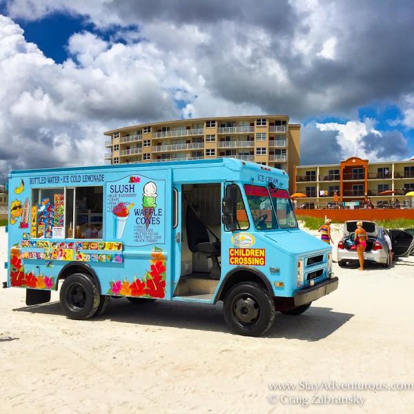 ice cream truck driving the beach in Daytona, Florida