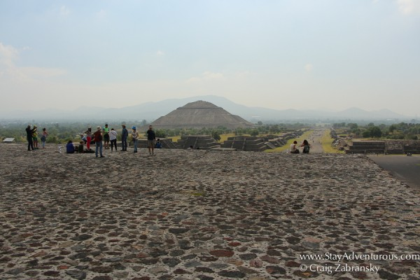Avenue of the Dead from Pyramid of the Moon in Teotihuacan outside Mexico City