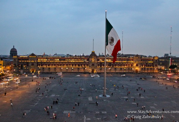 the Zocalo, the main plaza in Mexico City at night, or rather dusk