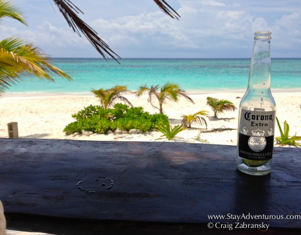 Corona on the beach of Mexico in the Riviera Maya