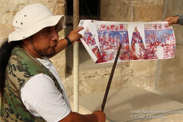 explaing the mayan murals of Bonampak, the Bonampak Paintings