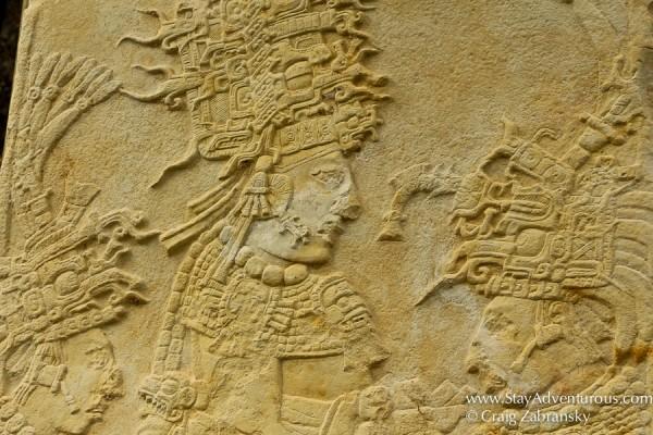 Stelae inside mayan ruins of bonampak in chiapas, mexico