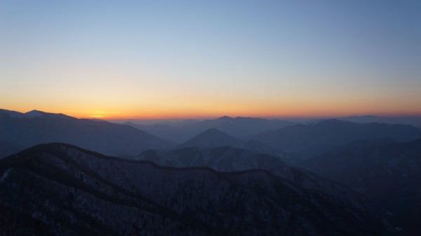 sunset inside North Korea taken by Andrea Lee or Uri Tours at the Masik Pass Ski Resort