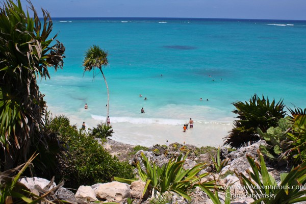 the view of the Caribbean Sea from the ruins of Tulum in Mexico