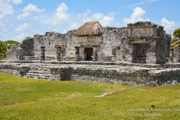 the Great Palace at the Mayan Ruins of Yulum in the Yucatan of Mexico