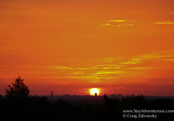 sunset over Villahermosa, Tabasco Mexico