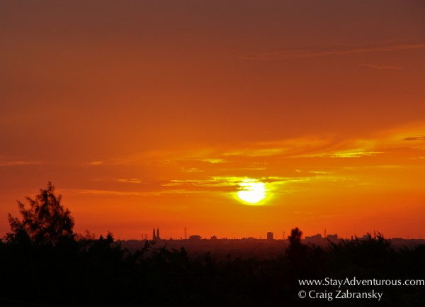 the sunset over Villahermosa, Tabasco, Mexico