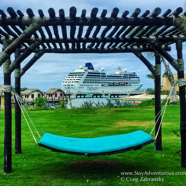 the view of the mv Adonia from Amber Cover on the Fathom Impact Travel Cruise to the Dominican Republic