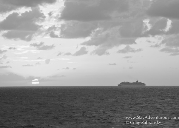 the sunset at see on Fathom Travel Cruise to the Dominican Republic in Black and White