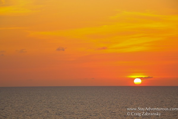 the sunset at sea onboard the fathom travel mv Adonia heading back to Miami