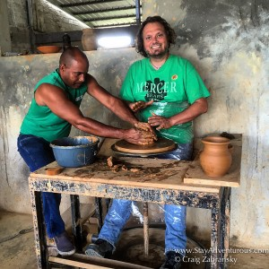 making a clay bowl for fun during the water filtration fathom travel impact excursion in the dominican republic