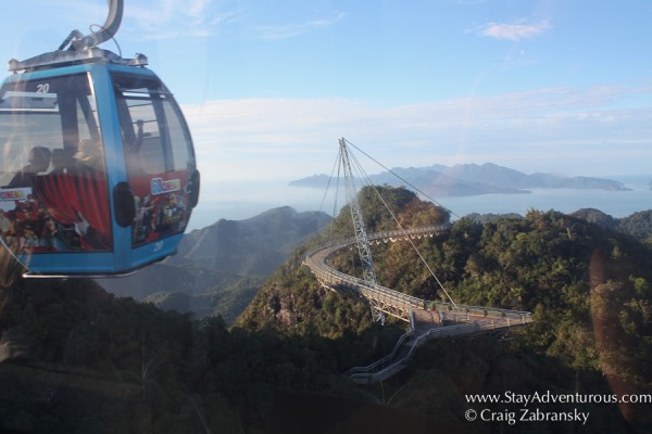 view of sky bridge from the cable car in langkawi, malaysia