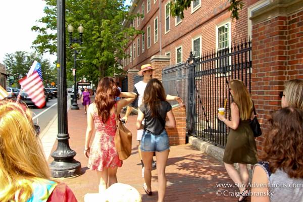 walking the Hahvahd tour at Harvard University