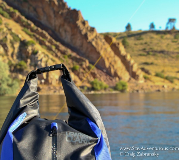 Lewis N. Clark Day Dry Bag on the Missouri River in Montana for a fly fishing float