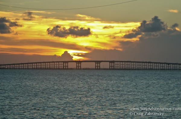 South Padre Island Sunset view from Pier 19 on the Laguna Madre and the Causeway
