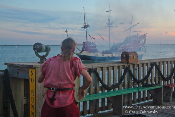 the Pirate show on the pier 19 at sunset on south padre island, texas