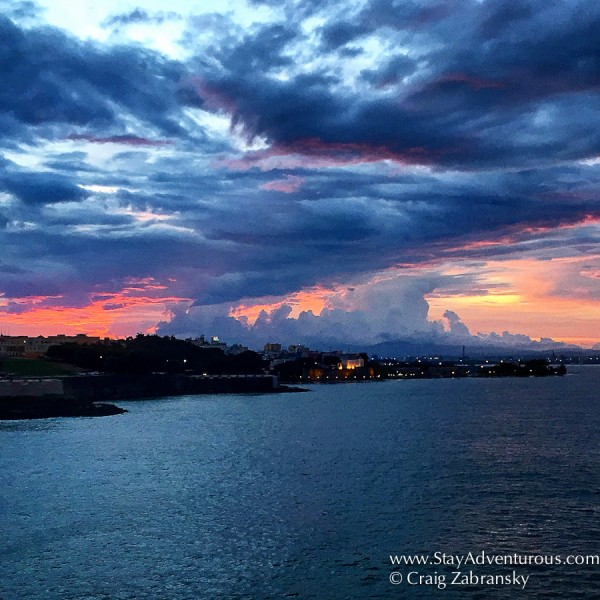 sunrise entering San Juan, Puerto Rico on board the Viking Star