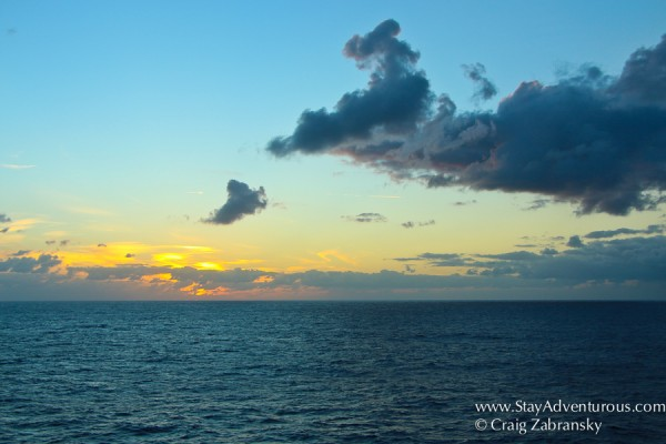sunset from on board the viking star in the atlantic ocean