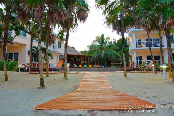 the walk to the beach at the Laru Beya, Placencia, Belize