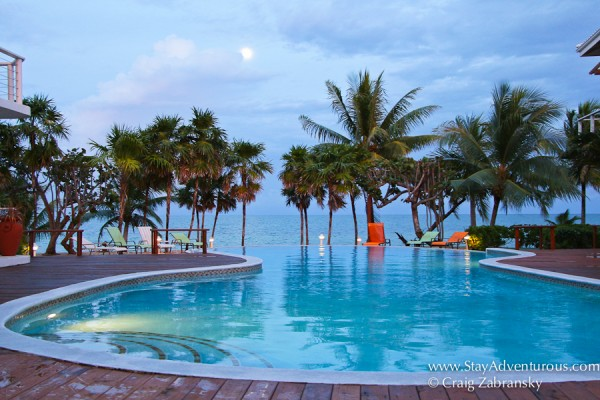 the infinity pool at the Laru Beya Resort, Placencia, Belize