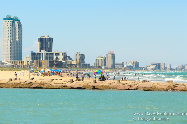 view of the beach of South PAdre Island, Texas from the Osprey Dolphin Cruise