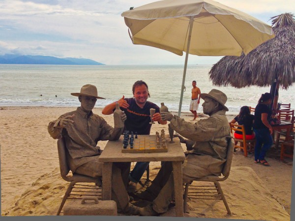 Toasting the Good Life on the local beachfront along the malecon in Puerto Vallarta, Mexico