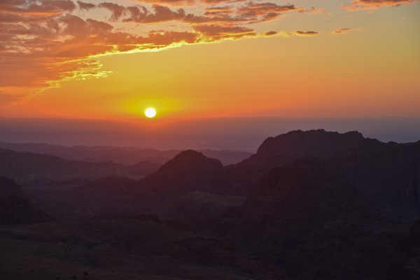 sunset from wadi musa outside petra in jordan