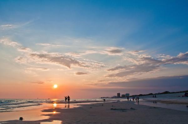 view of Panama Beach city at sunset