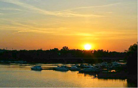 Dnipro Embankment sunset near Kiev, Ukraine