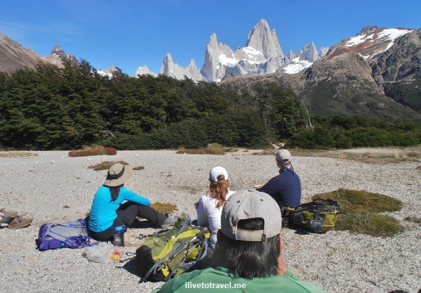 Enjoying a break and the view (Fitz Roy is the tallest and Poincenot peak second tallest) in Argentina
