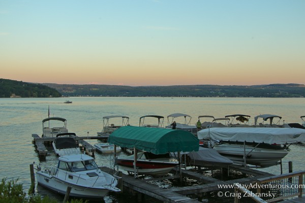 lakesude restaurant and tavern sunset view on keuka lake in the finger lakes of new york