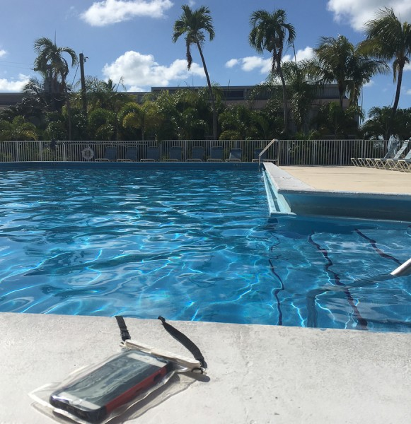 Magnetic Waterproof pouch at Islamorada Pool