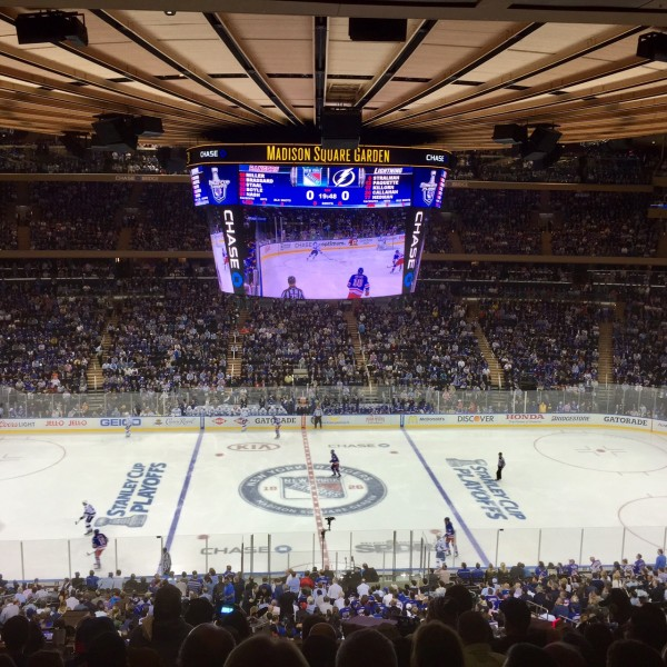 New York Ranger Hockey game at Madison Square Garden from my seats