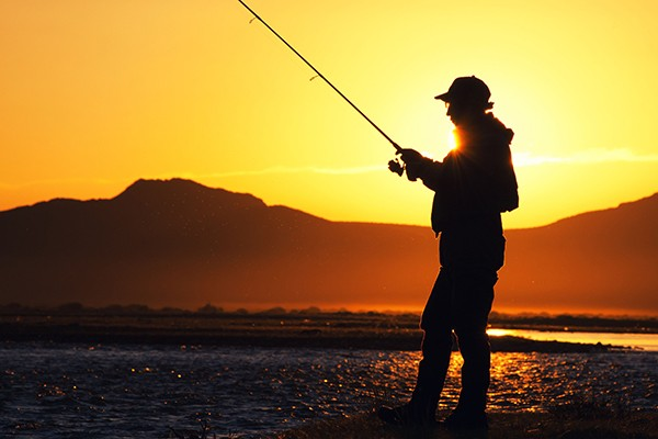 sunset fishing in the mongolia