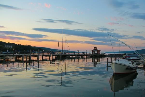 Enjoying the sunset moment at the Glen Watkins Harbor Hotel on Seneca Lake in the Finger Lakes of New York
