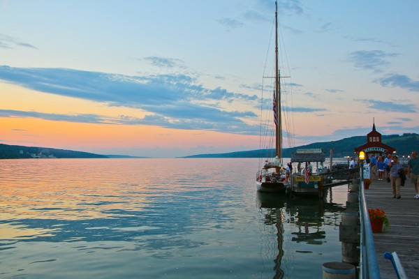 the dock on Senaca Lake behind the Watkins Glen Harbor Houtel in the Finger Lakes of New York at Sunset