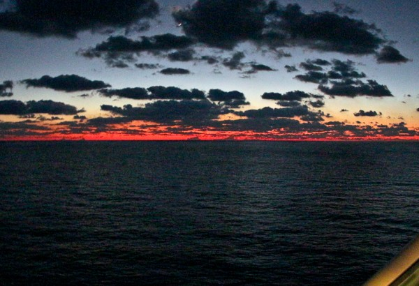 sunset at sea on the western caribbean sail of the NCL Getaway